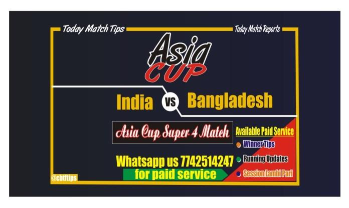 IND vs BAN Asia Cup Super 4 Match Reports