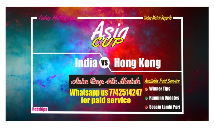 India vs Hong Kong 4th Match Asia Cup Win Team