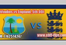 5th ODI WI vs ENG 100% Sure Win Tips Non Cutting Match