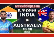 AUS vs IND 2019 4th ODI 100% Sure Win Tips Non Cutting Match