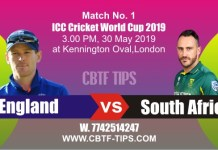 2019 World Cup SA vs ENG Match No. 1 Prediction & Betting Tips