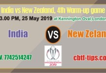 Ind vs NZL Warm UP CWC19 Match Prediction & Betting Tips