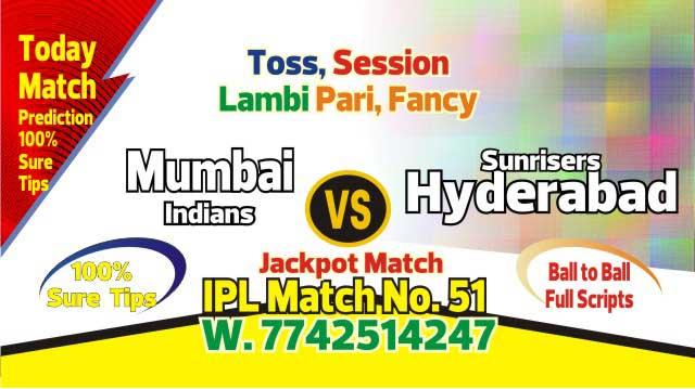 Lagai Khai MI vs SRH 51st Match Prediction & Betting Tips - IPL 2019 -Todayprediction.in