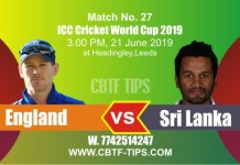 World Cup 2019 Eng vs Sl 27th Match Reports Betting Tips