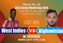 ICC Cricket World Cup 2019 WI vs AFG 42nd Match Reports Betting Tips
