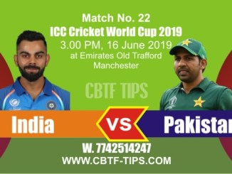 World Cup 2019 Ind vs Pak 22nd Match Reports Betting Tips