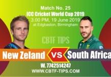 World Cup 2019 SA vs NZL 25th Match Reports Betting Tips