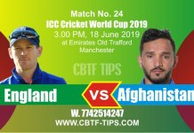 World Cup 2019 Eng vs Afg 24th Match Reports Betting Tips