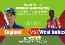 World Cup 2019 Eng vs WI 19th Match Reports Betting Tips