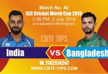 World Cup 2019 IND vs BAN 40th Match Reports Betting Tips