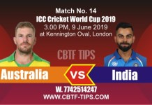 World Cup 2019 Ind vs Aus 14th Match Reports Betting Tips