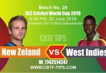 World Cup 2019 NZL vs WI 29th Match Reports Betting Tips