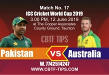 World Cup 2019 PAK vs AUS 17th Match Reports Betting Tips