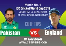 World Cup 2019 PAK vs ENG 6th Match Prediction & Betting Tips