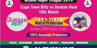 CTB vs DUR 18th Mzansi Super League T20 Match Reports Betting Tips