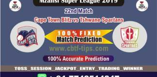 CTB vs TST 22nd Mzansi 2019 T20 Match Reports Betting Tips - CBTF