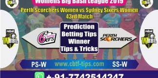 PS-W vs SS-W 43rd Womens Big Bash League 2019 Match Reports Cricket Betting Tips