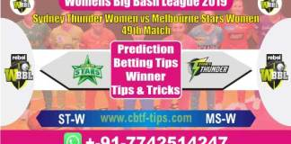 STW vs MSW 49th Womens WBBL Match Reports Betting Tips - CBTF