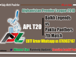 APL T20 Match Prediction Balkh vs Paktia 7th