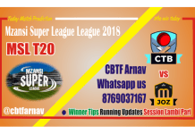 MSL 2018 Jozi Stars vs Cape Town Blitz 9th Match Lambi Pari Tips