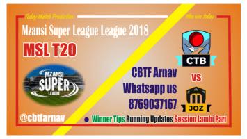 MSL 2018 Jozi Stars vs Cape Town Blitz 9th Match Lambi Pari Tips