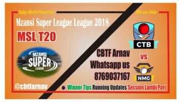 Cape Town vs Nelson Mandela MSL 2018 12th Match Lambi Pari Tips