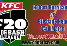 BBL T20 44th Match Prediction HBH vs BRH Toss Pari Session Tips