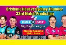 SYT vs BRH BBL 33th Match Prediction BRH vs SYT Toss Lambi Tips