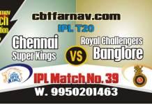 RCB vs CSK Today IPL Match No 39th Prediction 100% sure Tips