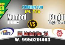 Today IPL Prediction MI vs KXIP 24th Match 100% Sure Tips
