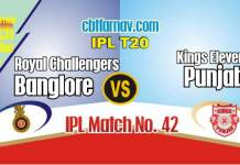 RCB vs KXIP Today IPL Match No 42nd Prediction 100% sure Win Tips