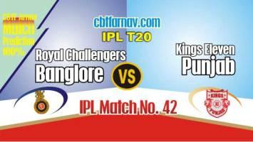 RCB vs KXIP Today IPL Match No 42nd Prediction 100% sure Win Tips