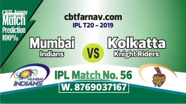 MI vs KKR Today IPL Match No 56th Prediction 100% sure Win Tips