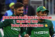World Cup 2019 Match 30th Pak vs RSA Today Match Prediction