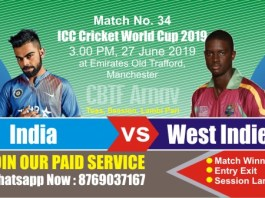 World Cup 2019 Match 34th Ind vs WI Today Match Prediction