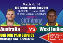 World Cup 2019 Match 10th AUS vs WI Today Prediction Win Tips
