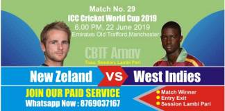 World Cup 2019 Match 29th NZL vs WI Today Match Prediction