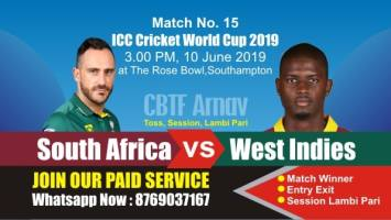 World Cup 2019 Match 15th SA vs WI Today Match Prediction