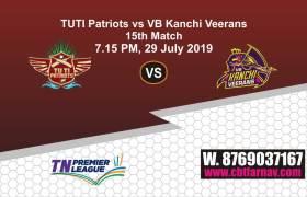 TNPL 2019 VBK vs TUT 15th Match Report Today Toss Lambi Pari