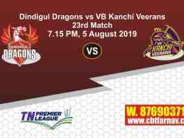 TNPL 2019 DIN vs VBK 23rd Match Report Today Toss Lambi Pari