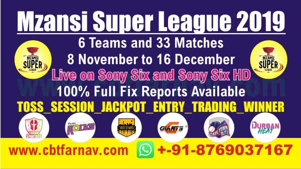 MSL T20 2019 Today Match Prediction Mzansi Super League Betting Tips