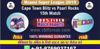 Paarl vs Cape Town 15th Match Reports Today Mzansi T20 Betting Tips