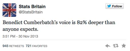 La voix de Benedict Cumberbatch est 82% plus grave qu'on ne l'imagine