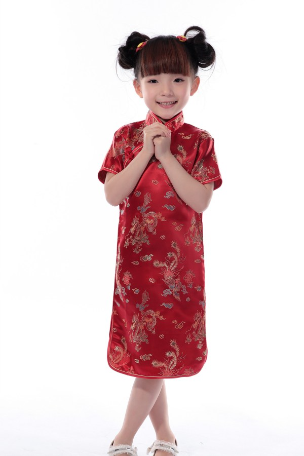 Chinese Kid Child Girls' Silk Dress Cheongsam Sz 2 4 6 8