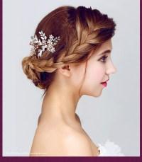 Crystal Rhinestone Gold Leaf Wedding Hair Combs Wedding
