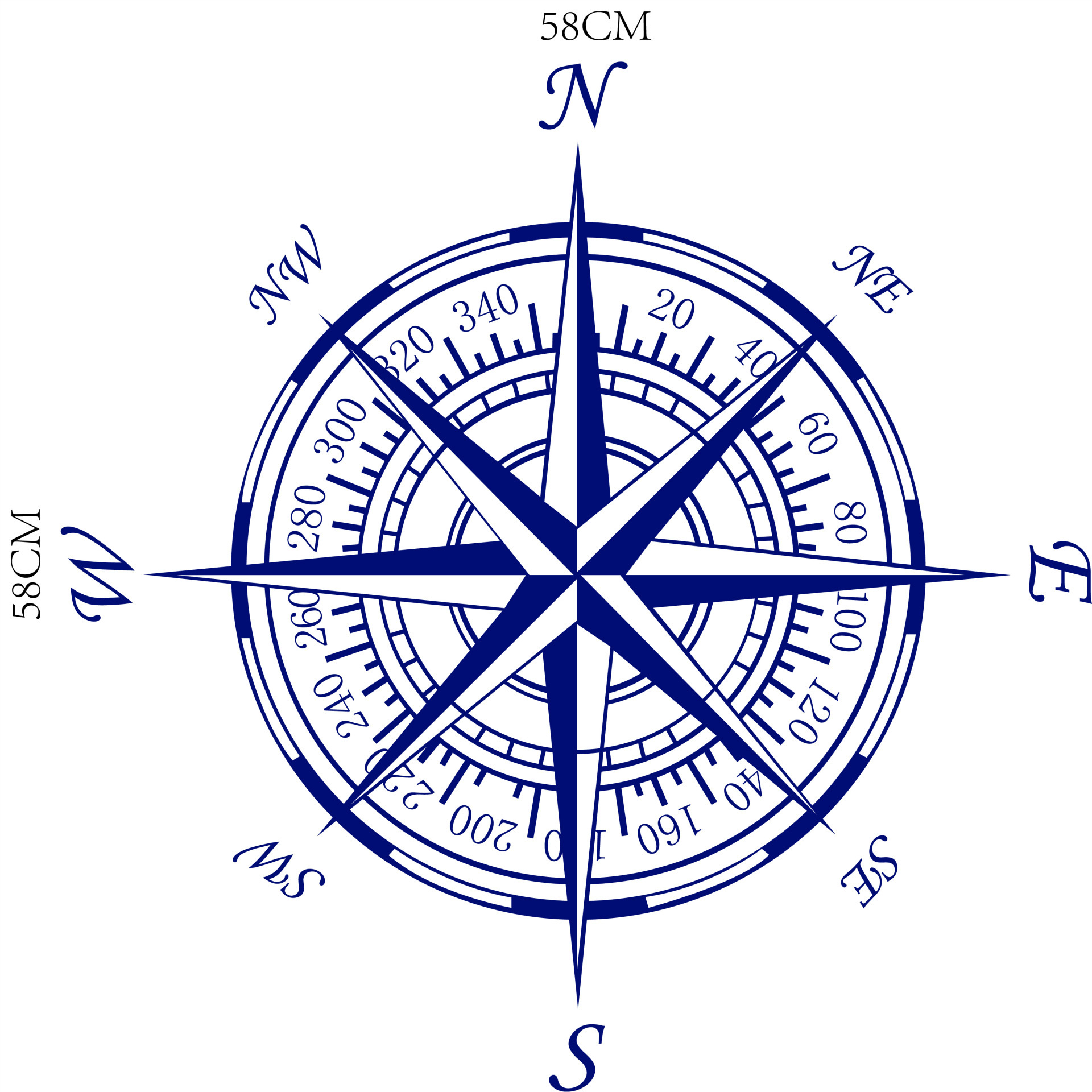 Bibitime Nautical Compass Rose Wall Decal Vinyl Decor Home