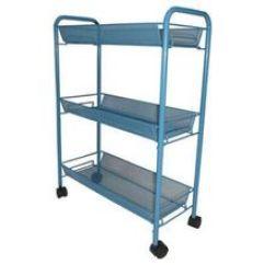 Kitchen Rolling Cart Countertops Cheap 收纳推车 收纳推车价格 优质收纳推车批发 采购 阿里巴巴 厂家直销批发收纳三层架推车置物架浴室厨房收纳白色蓝
