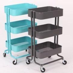 Kitchen Carts How To Reface Cabinets 厨房推车置物架 厨房推车置物架批发 促销价格 产地货源 阿里巴巴 新款极简simple 拉斯克厨房收纳置物架推车灰色 天蓝
