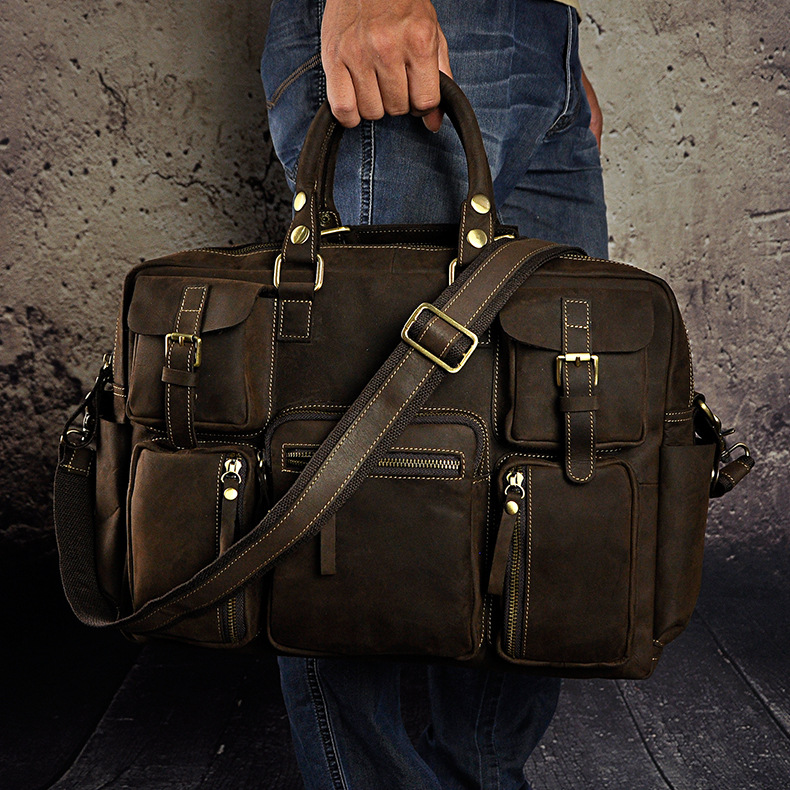 4222175560 2068518898 Original leather Men Fashion Handbag Business Briefcase Commercia Document Laptop Case Design Male Attache Portfolio Bag 3061-bu