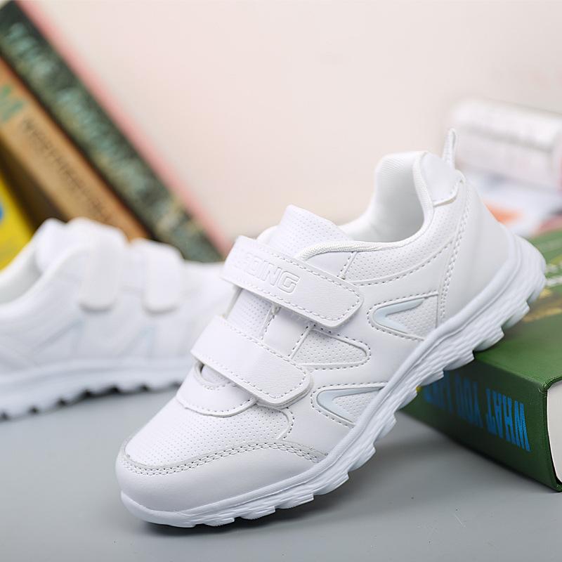 兒童運動鞋_白色兒童女童小白鞋男童跑步鞋革網面男孩旅游學生 - 阿里巴巴